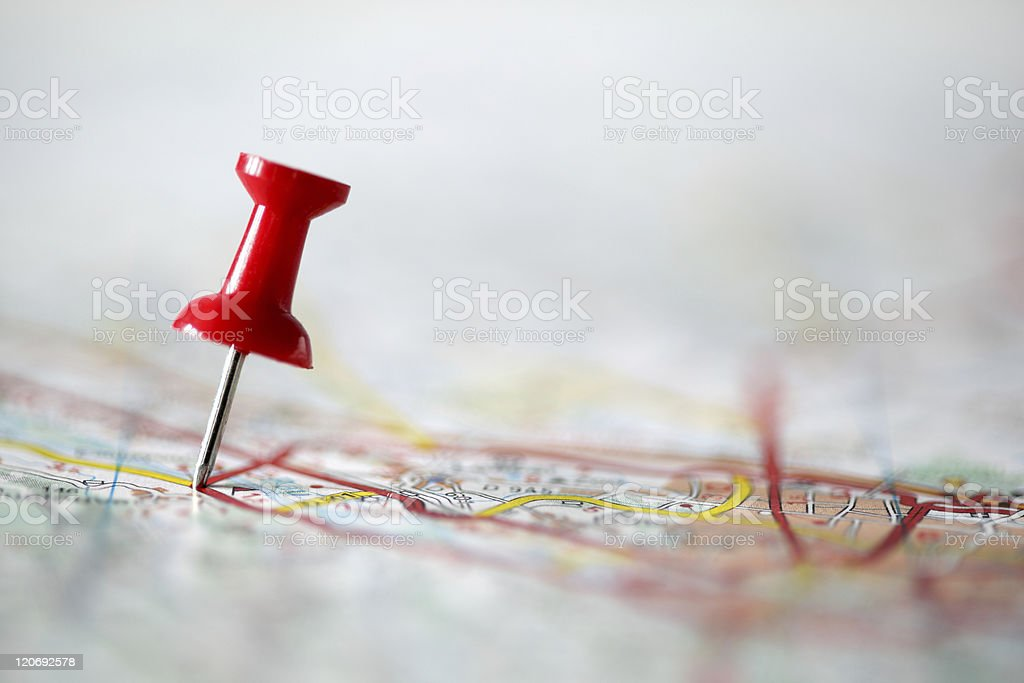 Pushpin on map royalty-free stock photo