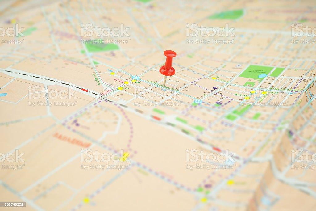 Pushpin on Nameless Map stock photo