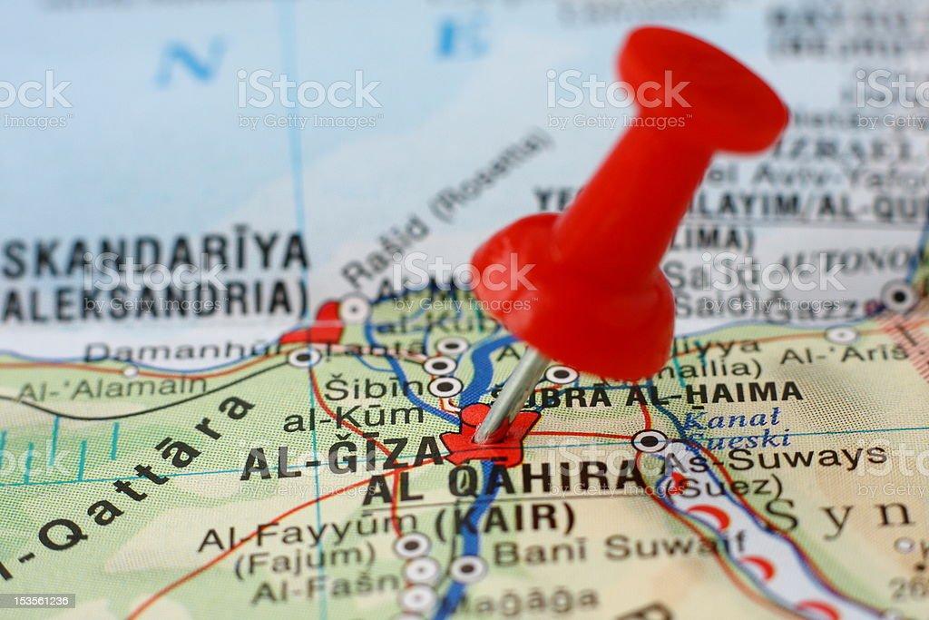 Pushpin on the map - El Giza, Egypt stock photo