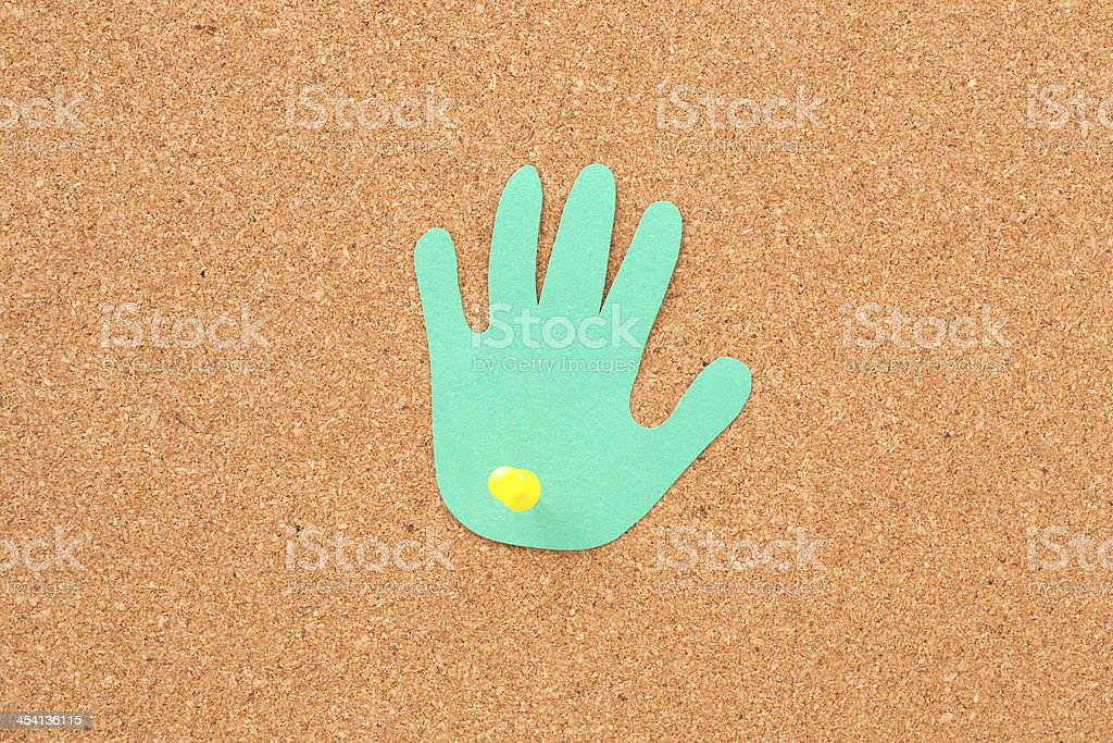 Pushpined hand royalty-free stock photo