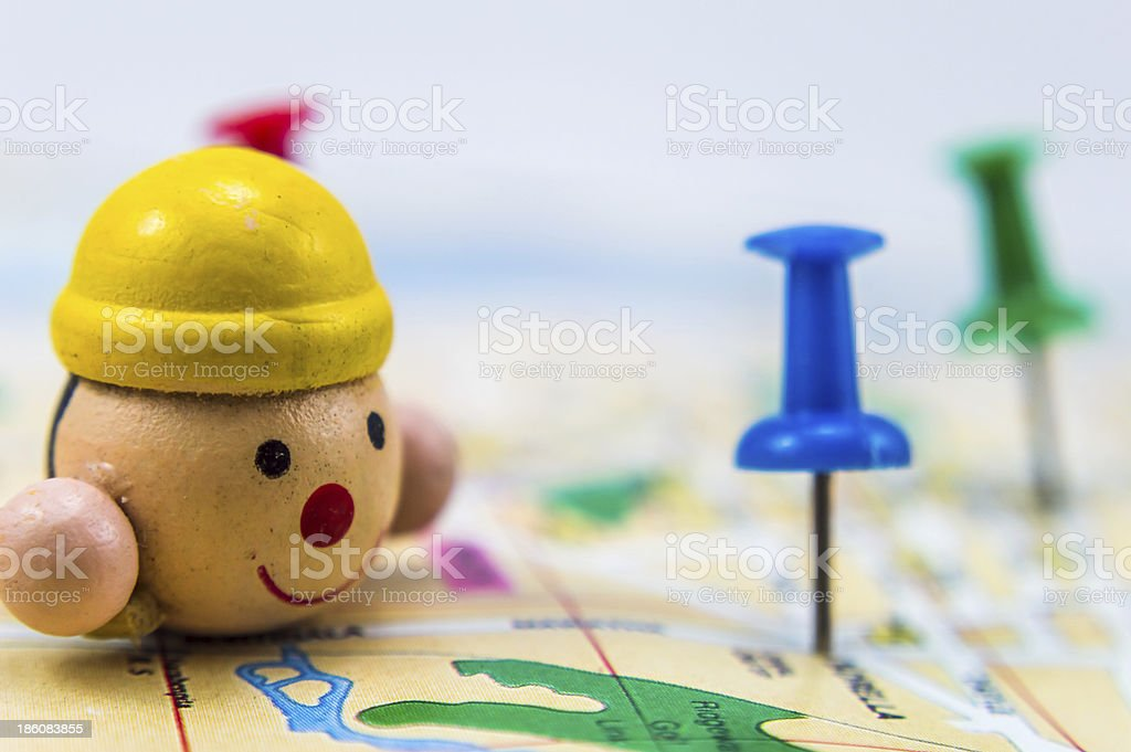 Pushpins on map 2 royalty-free stock photo
