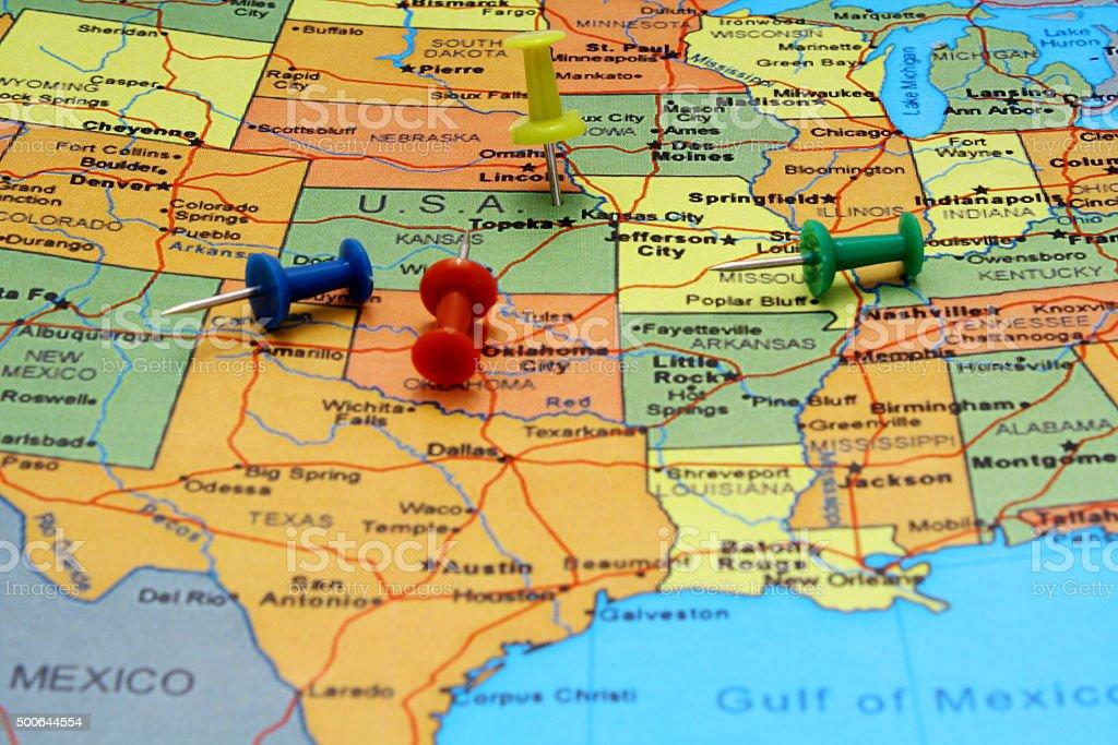 Pushpins on USA map stock photo