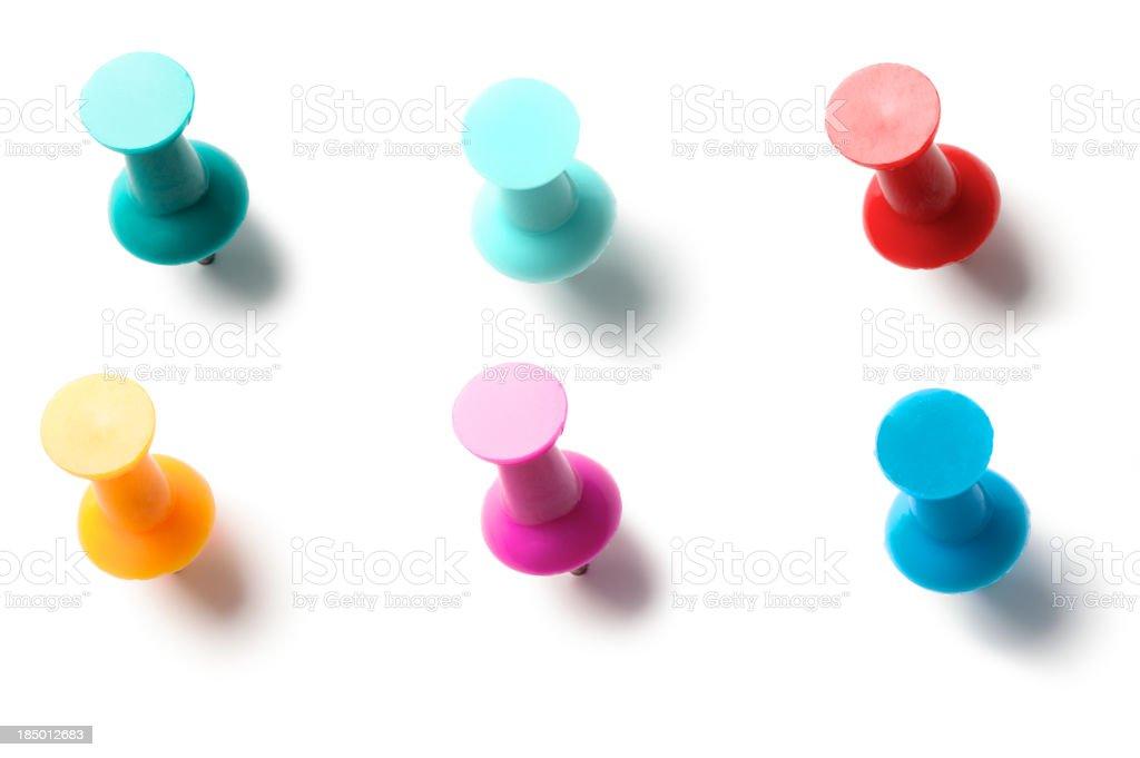 Pushpins Thumbtacks Isolated on White Background royalty-free stock photo