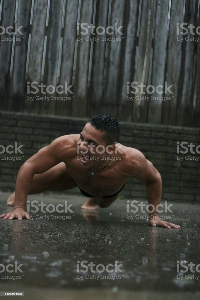 Pushups in the Rain royalty-free stock photo