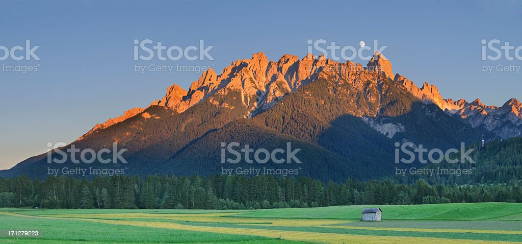 Puster Valley at Sunset (Dolomites - Italy) stock photo