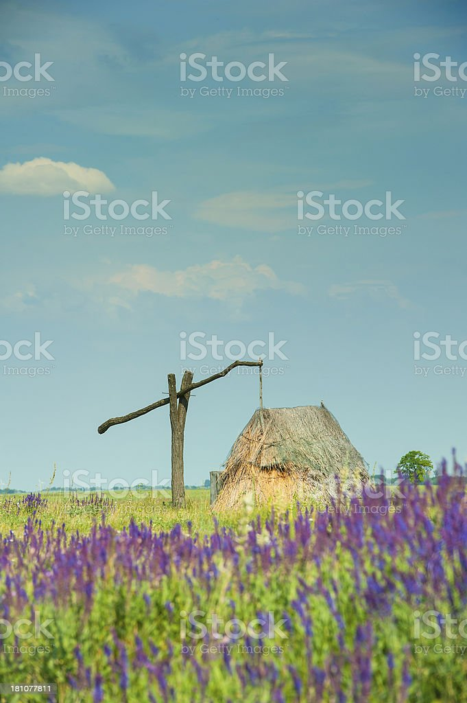 Puszta landscape with a typical draw well in Burgenland, Austria stock photo