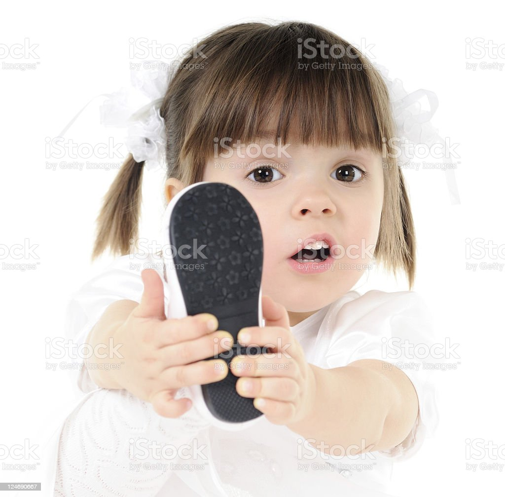 Put on shoes royalty-free stock photo