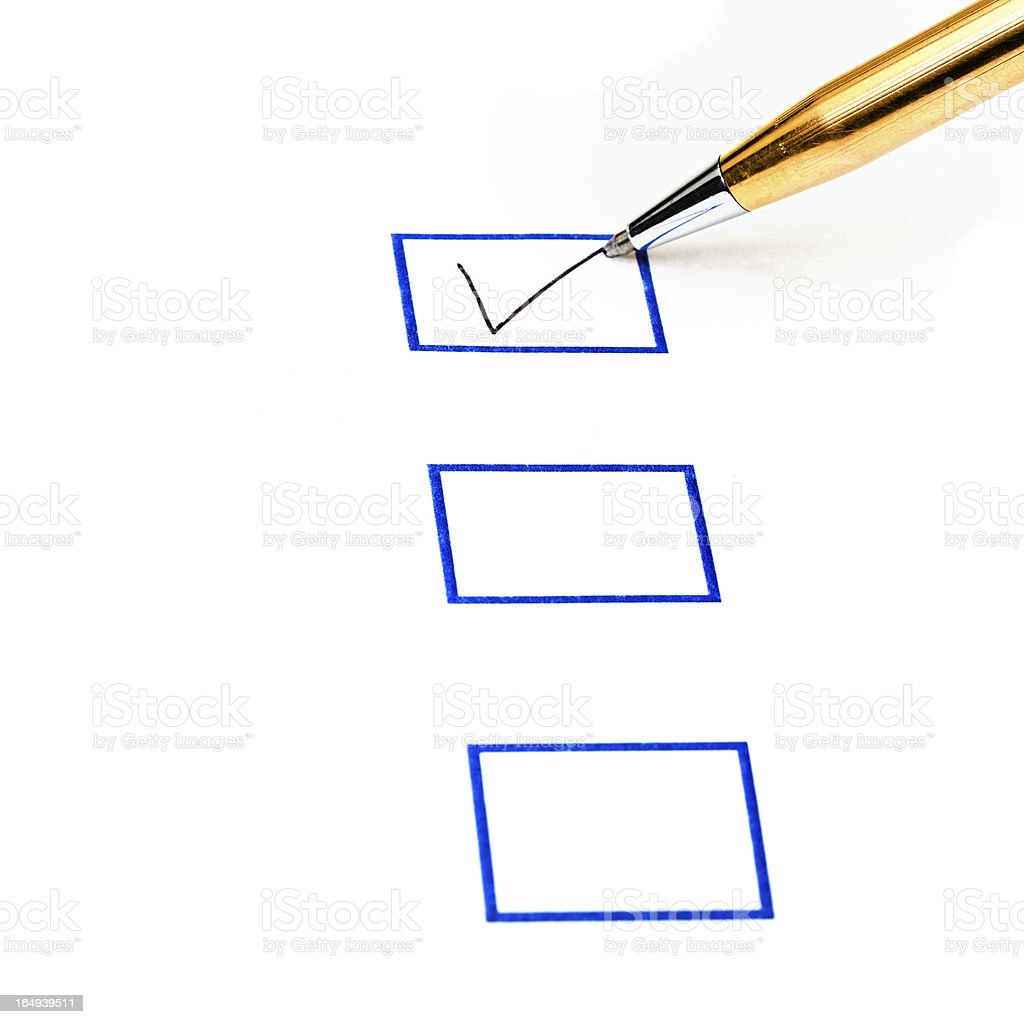 put tick in blue square box royalty-free stock photo