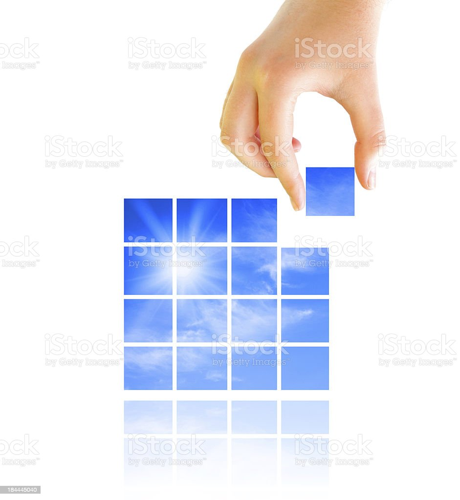 Put together puzzle stock photo