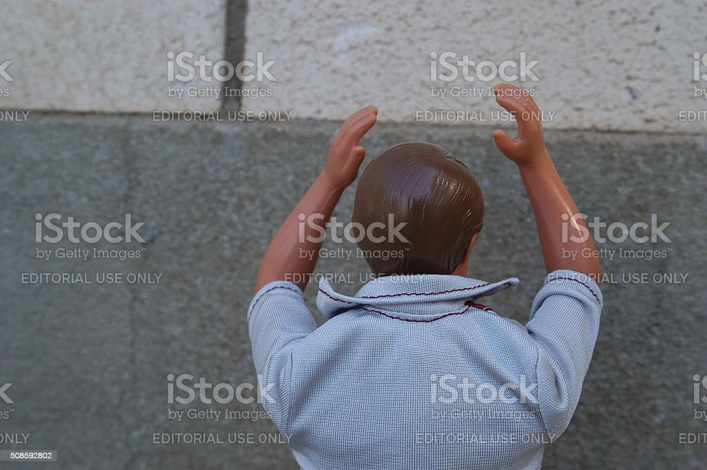 Put your hands over your head stock photo