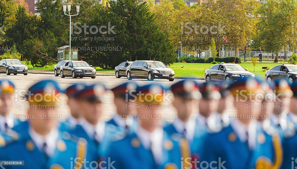 Putin visits Belgrade stock photo