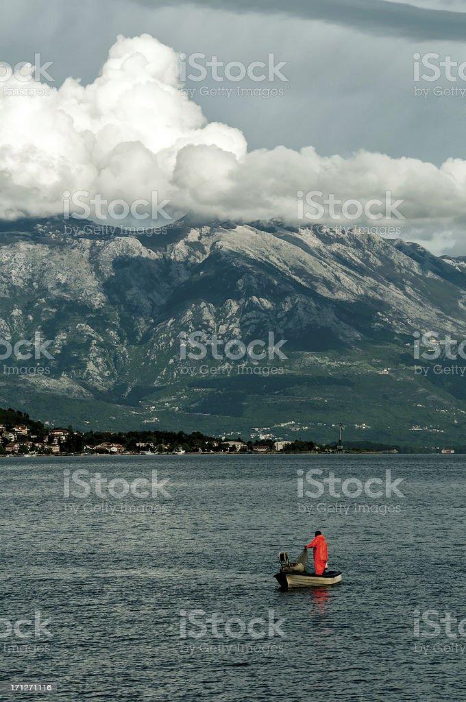 Puting the fishing nest stock photo