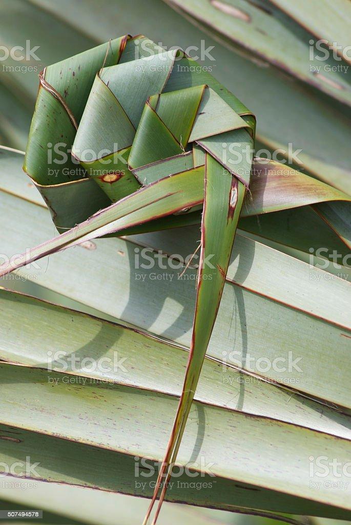 Putiputi woven from Flax (NZ Harakeke) stock photo
