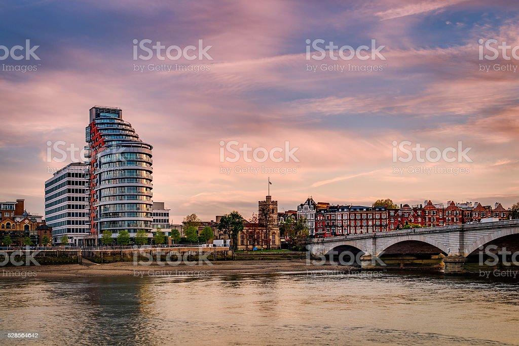 Putney bridge at sunset in London, England, UK stock photo
