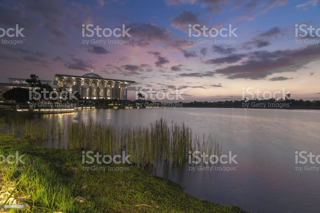 Putra Mosque during sunrise / sunrise stock photo