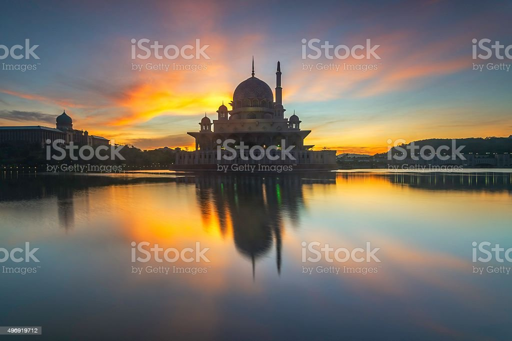 Putra Mosque in Rays Trails Auroura stock photo