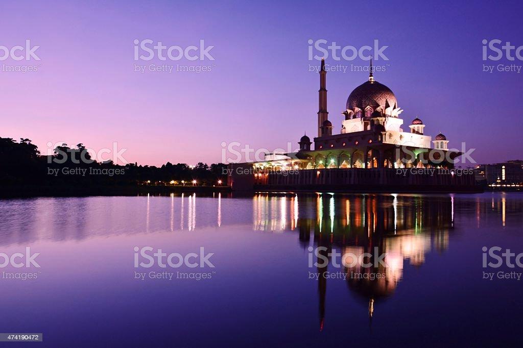 Putra Mosque, Putrajaya, Malaysia before Sunrise. stock photo
