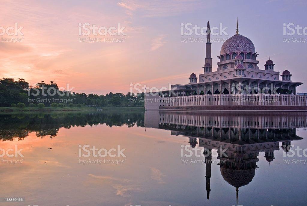 Putra Mosque (Masjid Putra), Putrajaya, Malaysia. Sunrise moment. stock photo