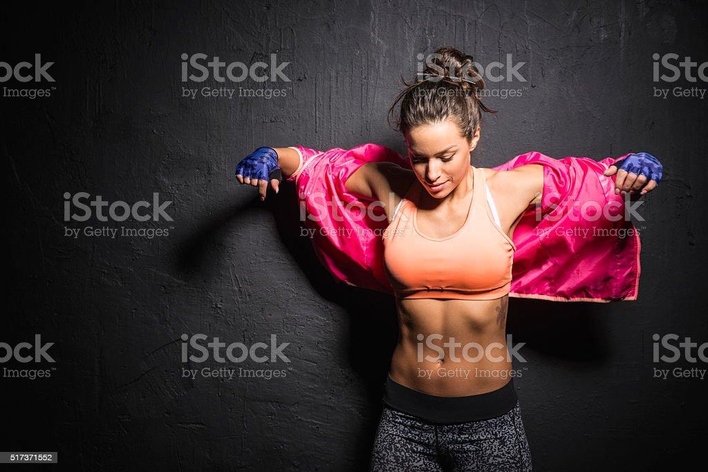Puts a sports jacket stock photo