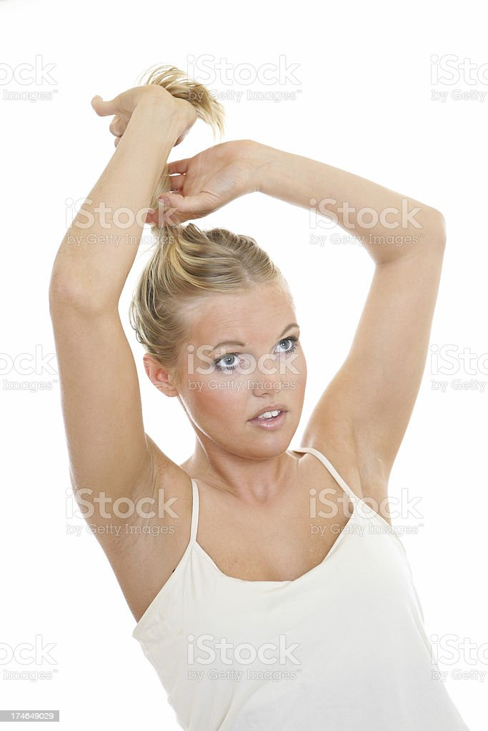 Putting hair up royalty-free stock photo