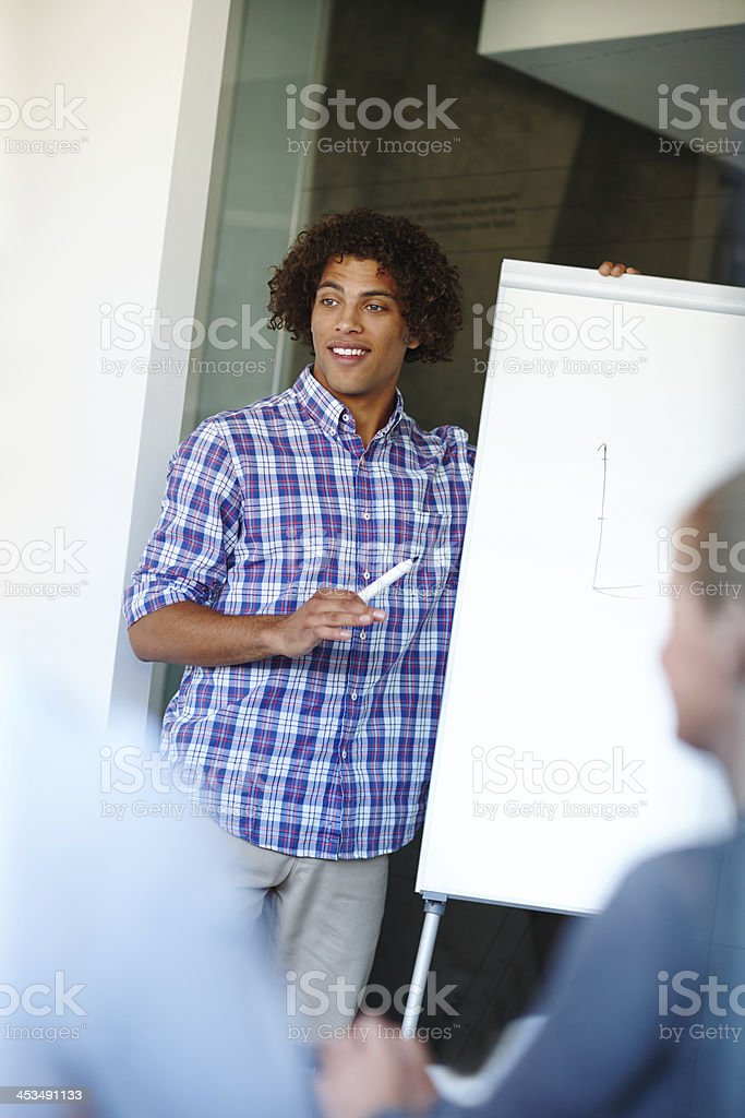 Putting his corporate strategy forward royalty-free stock photo