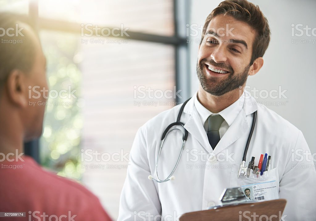 Putting his patient at ease stock photo