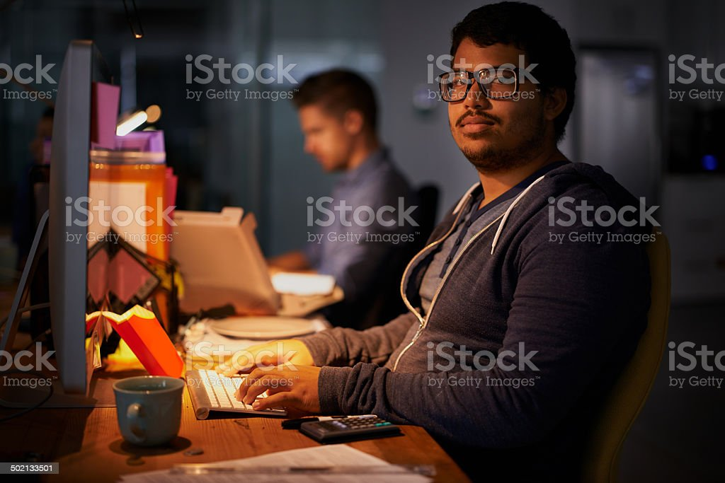 Putting in some overtime stock photo