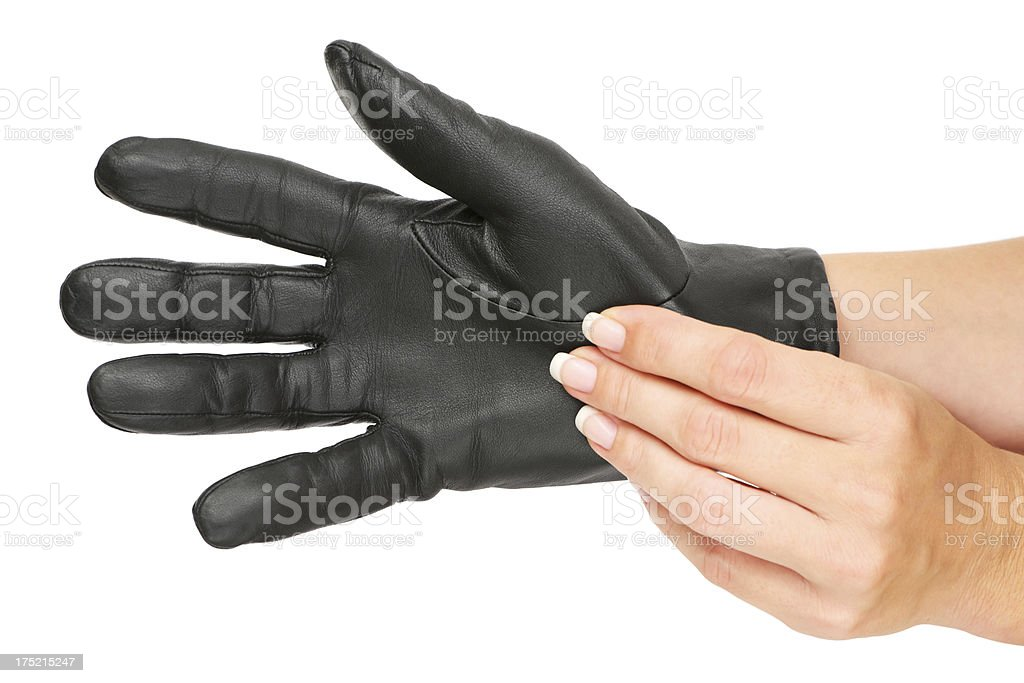 Putting Leather Gloves On stock photo