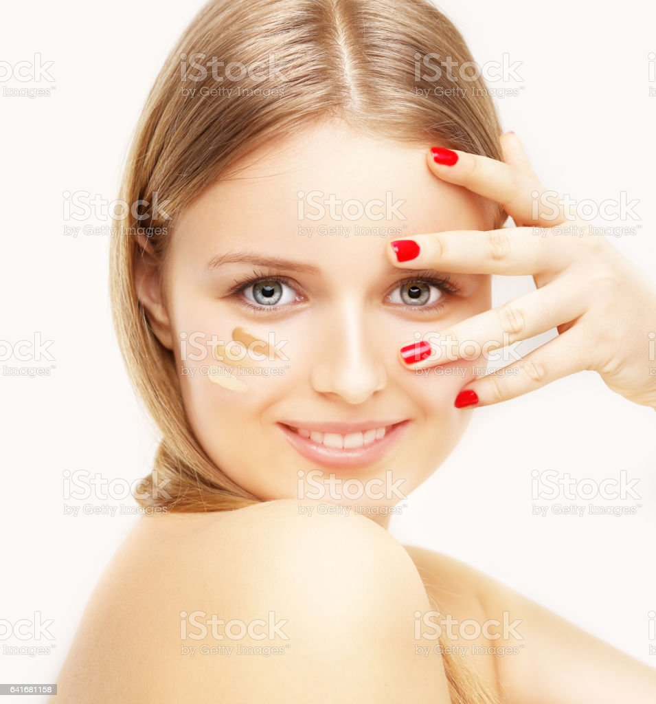Putting makeup .Contouring.Make up woman face. stock photo