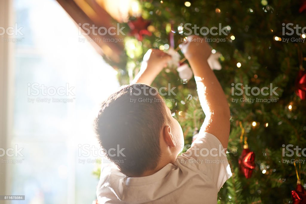 Putting the final touches on the tree stock photo