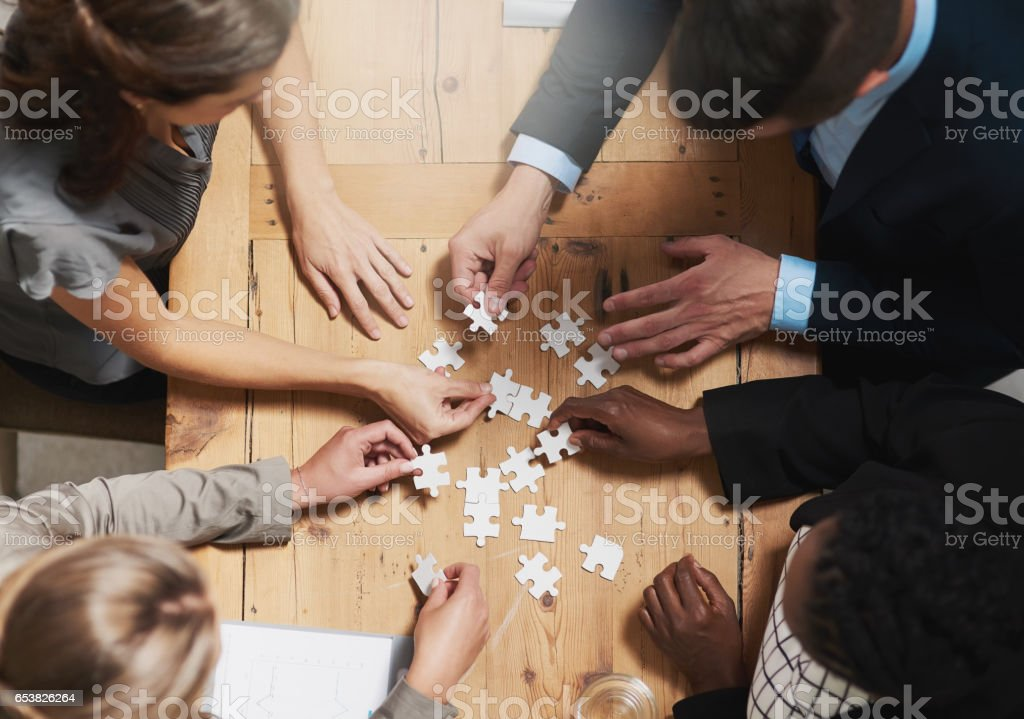 Putting their vision together stock photo
