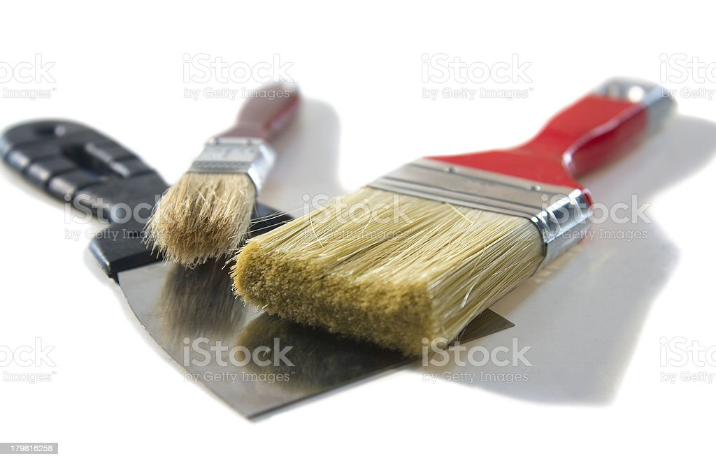 Putty Knife and brushes royalty-free stock photo