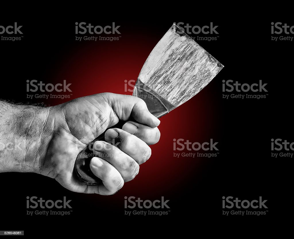 Putty Knife Hand Held stock photo