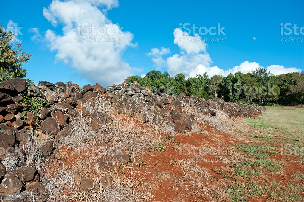 Pu'u o Mahuka Heiau, sacred site on Oahu, Hawaii stock photo