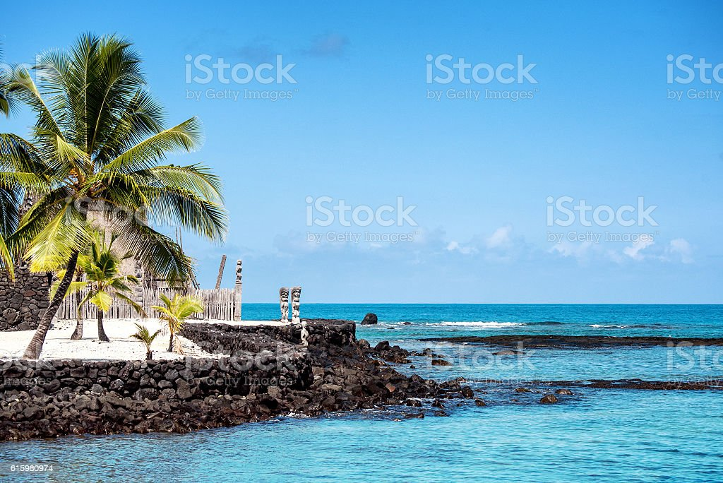 Puʻuhonua o Hōnaunau National Historical Park stock photo