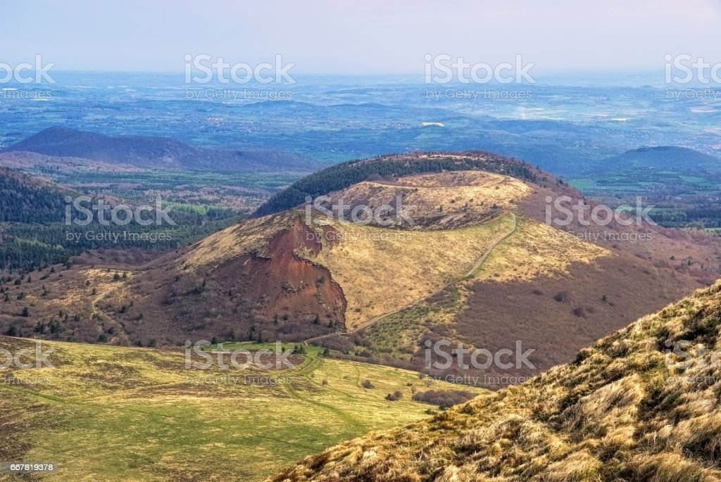Puy de Dome mountaintop Auvergne in France stock photo