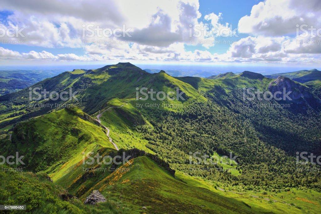 Puy de Sancy volcanic  mountains stock photo