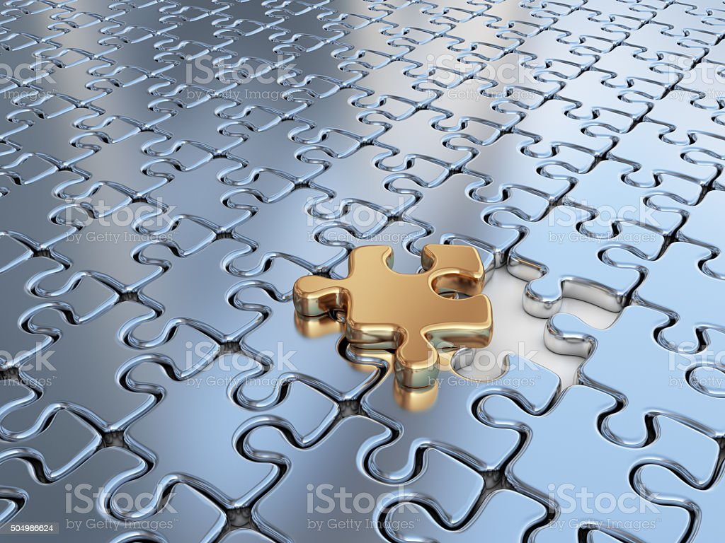 Puzzle 3D. Innovate, differentiate business background vector art illustration