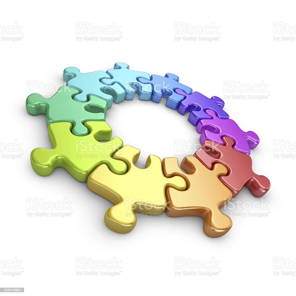 Puzzle 3D. Team work concept. Isolated on white background royalty-free stock photo