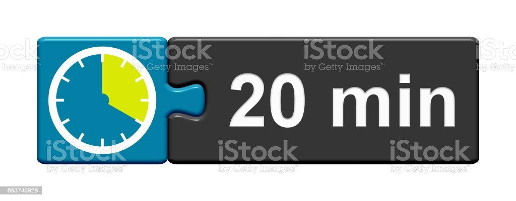 Puzzle Button blue grey: 20 Minutes stock photo