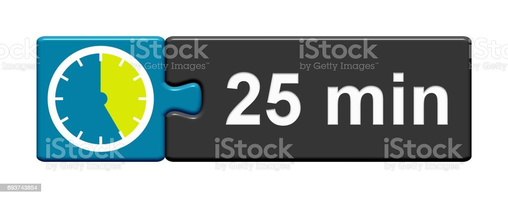 Puzzle Button blue grey: 25 Minutes stock photo