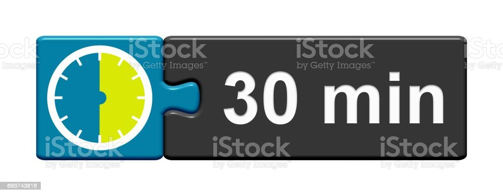 Puzzle Button blue grey: 30 Minutes stock photo