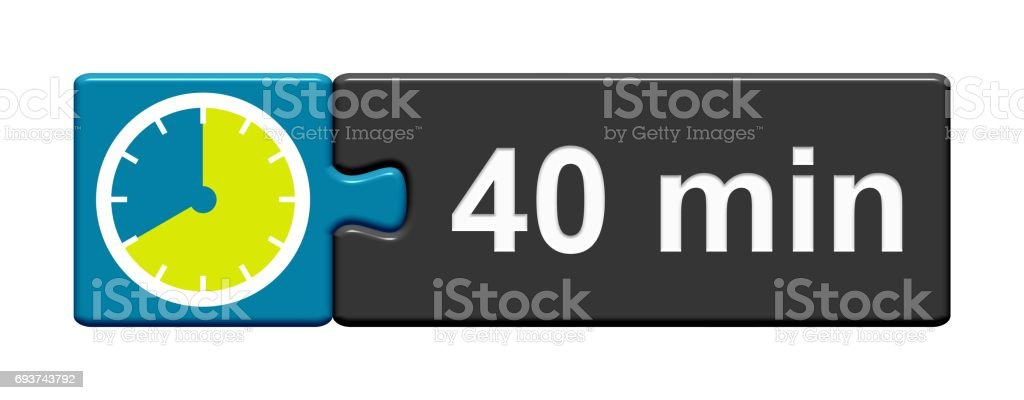Puzzle Button blue grey: 40 Minutes stock photo