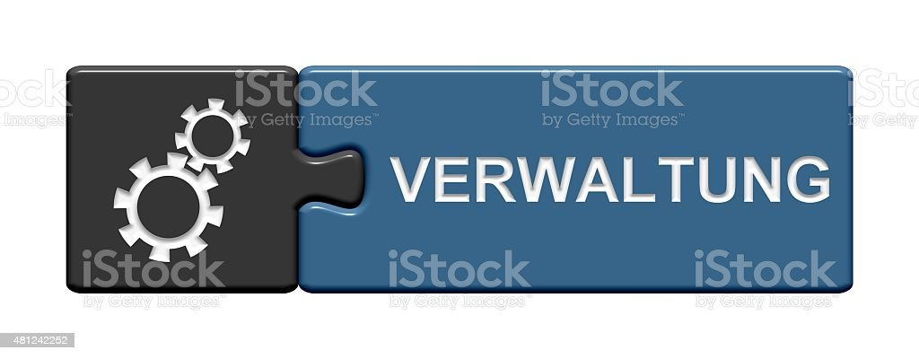 Puzzle Button showing administration in german language stock photo