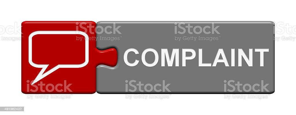 Puzzle Button showing complaint stock photo