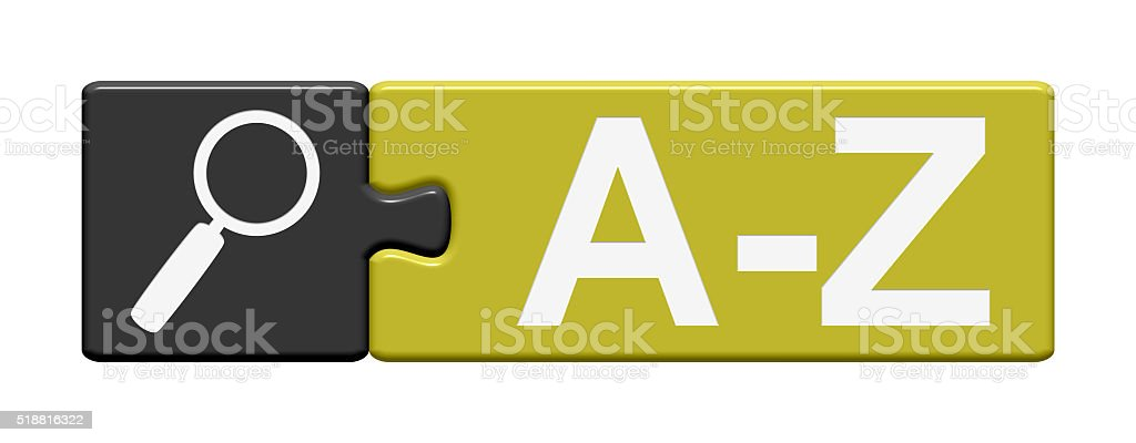 Puzzle Button shows A-Z stock photo