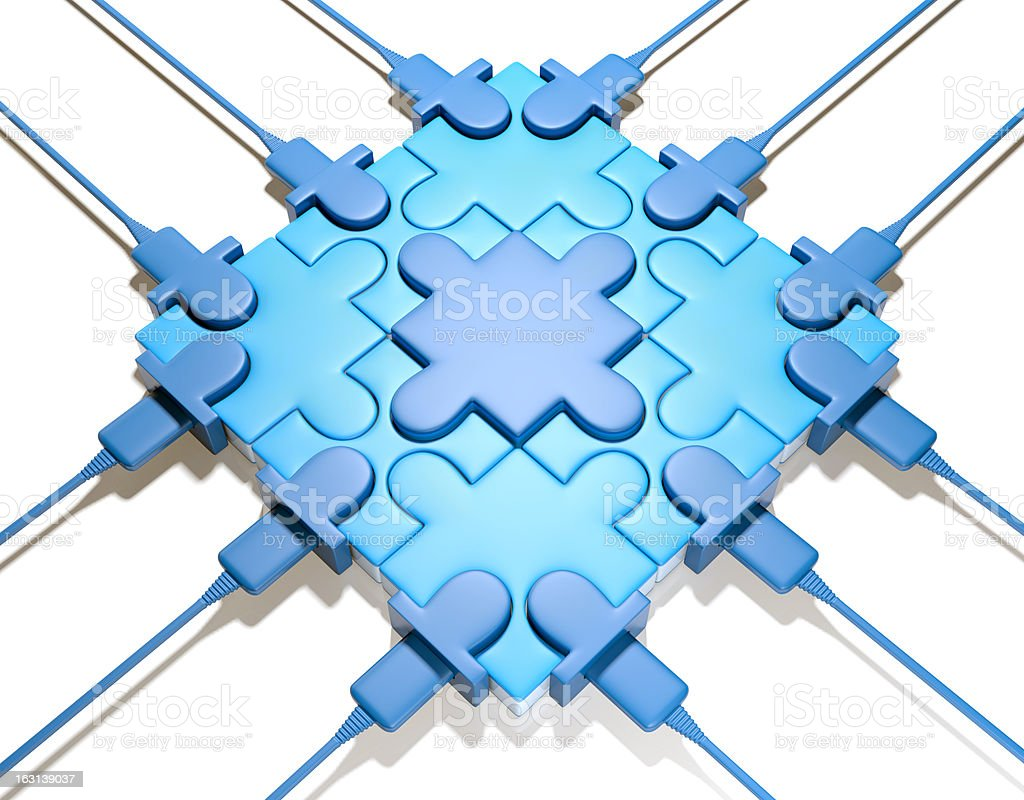 Puzzle chip on white background stock photo