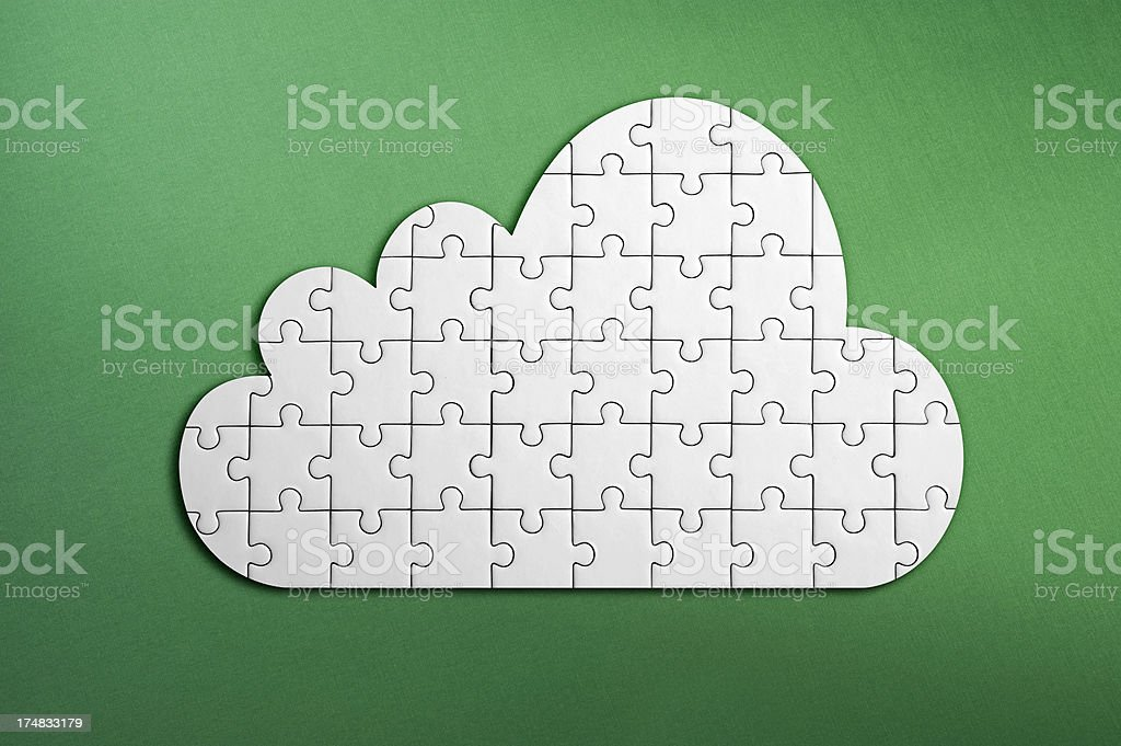 Puzzle cloud computing royalty-free stock photo
