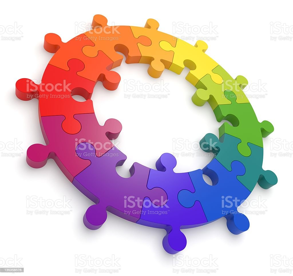 Puzzle Color Wheel 3D stock photo