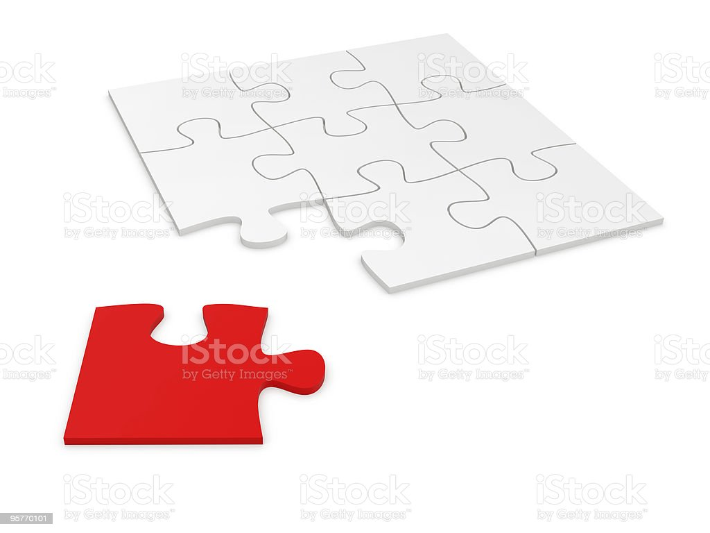 Puzzle Concept - Only White,Red royalty-free stock photo
